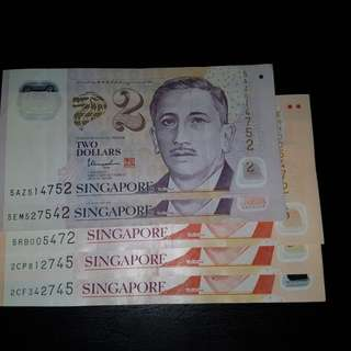 3 $10 NOTES 2 $2 NOTES ( 2745 SERIES )