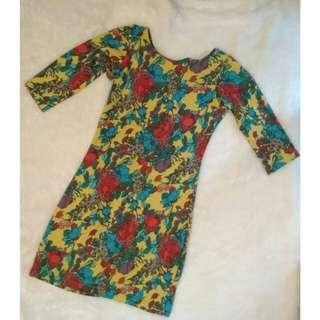 Midi Dress Bunga-bunga