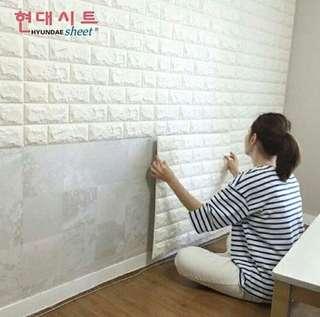 💢現貨💢 <白色>3D立體磚紋牆紙