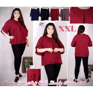 Atasan XXL Beauty Crepe Strit Color Lovely Oversized Ira