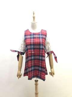 🚚 降⬇️ 全新 紅色格子手袖蕾絲上衣