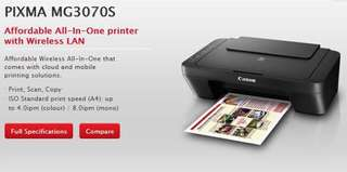 Canon printer MG3070s all in one