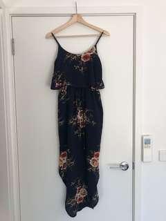 MIRACLE | Size 8 | Navy Floral Dress | 'Sage Santi Split' | Wedding, Engagement, Cocktail