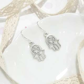 • Star of David in Hamsa Hand • Handmade Earrings • Silver