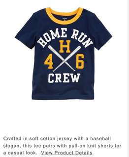 Carters USA - Home Run Crew Jersey Tee - Available now