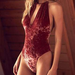 One piece velvet swimsuit