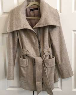 Zara size M 70% wool trench coat in camel