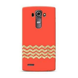 Glitter Gold Chevron In Red LG G4 Custom Hard Case