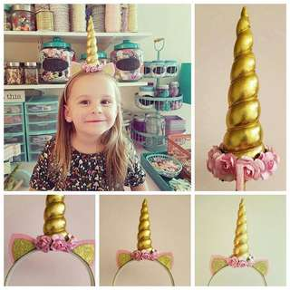 Instock - gold unicorn hair band, baby infant toddler girl children sweet kid happy abcdefgh so pretty