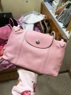 Longchamp羊皮櫻花粉紅鈄咩袋