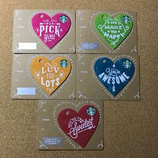 US Starbucks Valentine's Card Set