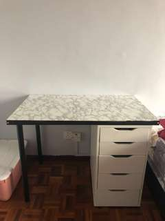 Marble Top Vanity Table with Shelves