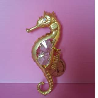 CRYSTAL TEMPTATION GOLD PLATED SEA HORSE