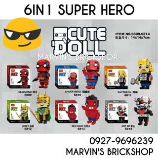 Latest Brickheadz Cute Doll 6in1 Building Blocks Toy