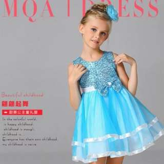 Shimmering Girls Dress Sky Blue Size 100 Instocks