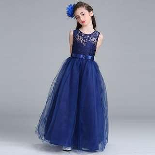 Blue Lace Girls Long Dress Gown Wedding Flower girls Bride maids Dress
