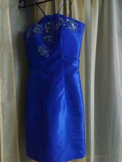 DETACHABLE SKIRT TWO PIECE ROYAL BLUE PROM DRESS