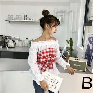 PO Checkered Ribbon Tie Waist Off Shoulder Top / Blouse