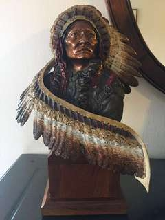 """Peter C Sedlow Ultra Rare Pewter portrait sculpture """"Sitting Bull"""" Limited Edition 48/500"""