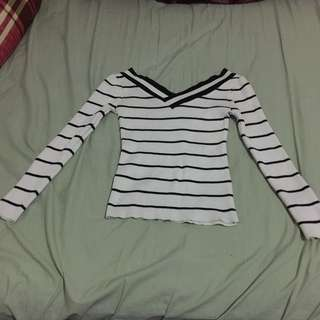 Knit Black n White Stripe