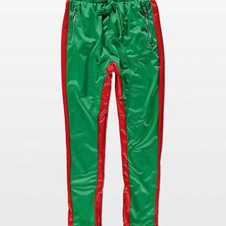 American Stitch Tricot Green & Red Track Pants
