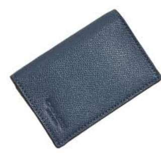 (有現貨,可代購) Coach Men's Dark Denim Bifold Card Case Crossgrain Leather F86763