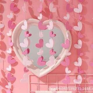 Pinky heart curtain