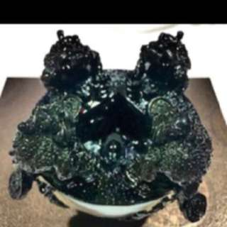 {FS138} Three Legged Toad FengShui Obsidian Bowl