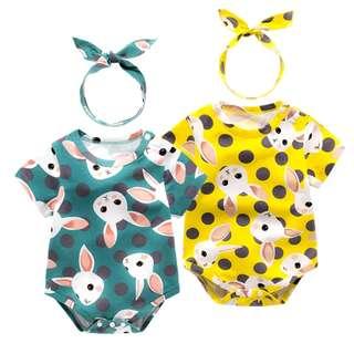 Instocks Brand New Korean Style Green Yellow Polka Dots & Bunny Rabbit Short Sleeves Romper + Ribbon/Bow Headband Set (0-24 months new born baby girl infant toddler 2T size 80 90 100 carters mothercare jujube girly medela pigeon barbie disney)