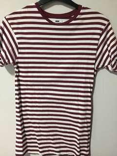 Topman burgundy striped tee