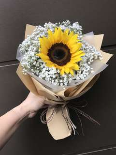Single Sunflower And Baby Breath Bouquet