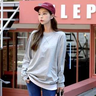 🚚 韓國灰色假兩件長版T恤