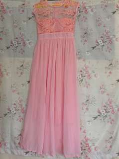 Pink long gown with lace on top, sleeveless