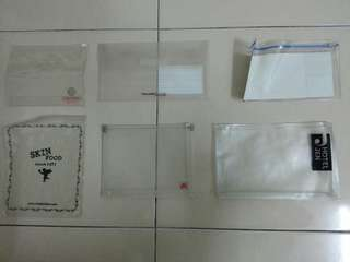 Clear Transparent Pouch x 6