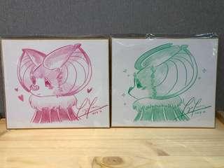 STS 上海國際潮流玩具展 Yoki 蝙蝠 作者 現場手繪簽名畫 粉色/綠色