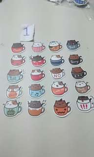 Cute Cats in a Cup stickers