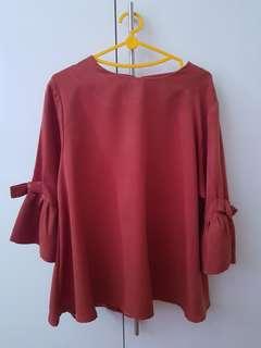 blouse coklat atasan