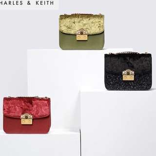 charles and keith glitter&suede crossbody