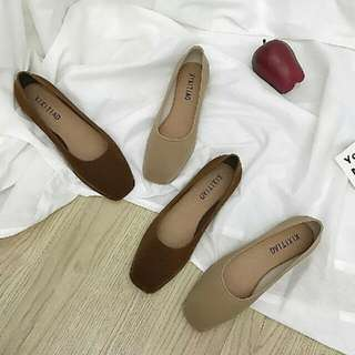 韓國復古咖啡絨面娃娃包鞋古著