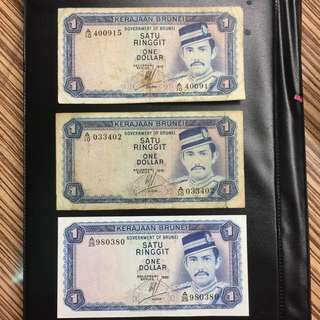 Brunei 1972 1983 $1 banknotes (3 pc lot)