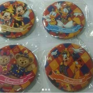 Disney迪士尼10週年襟章(一套4個)