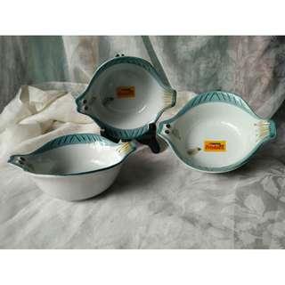 二手3個一起出清friskies喜躍贈品魚型小碗盤