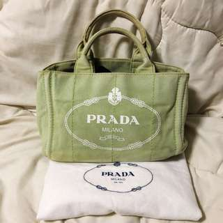 Prada Canapa Small Canvas Tote Bag