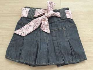 Baby Girl Denim Skirt with Ribbon Sash