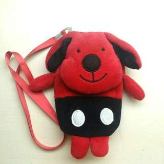 [LARGE DISCOUNT] Rare Clifford The Big Red Dog Plush Phone Pouch With Ribbon Neck Strap, Plush Card Holder