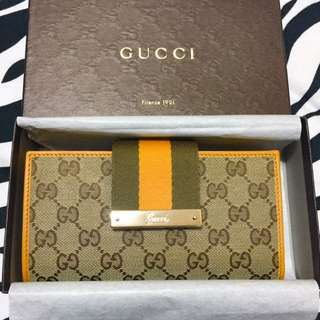 🈹️$1300 Gucci Green/Orange Stripe long wallet長銀包