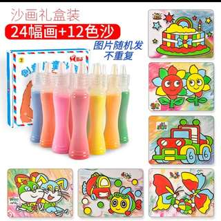 Children colored sand painting kit