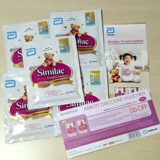 Similac Total Comfort Stage 2 Super Premium Follow-on Formula Baby Milk Powder For After 6 Six Months Baby Infant Toddler Child Children Abbott 5 Sachets 30.8g Each With $5 Off Discount Voucher For Purchase Of A 820g Can With Free Normal Mail