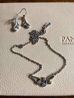 Pandora Ocean Swirl Earrings & Necklace