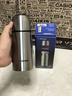 High quality Signature Zojirushi 350ml stainless steel flask, 6.8cm by 6.8cm by 18cm; 235grams